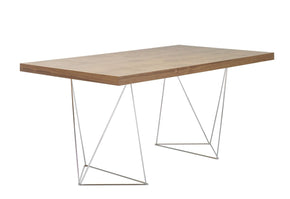 Multi 71 Table Top W/ Trestles Walnut / Chrome Office Desk