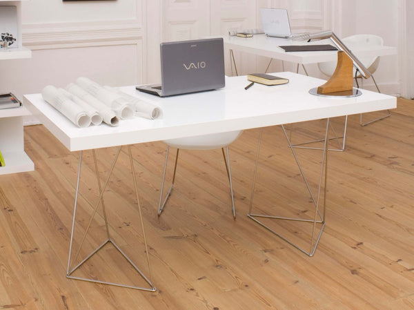 "Office Desks - TemaHome 9500.611452 Multi 71"" Table Top W/ Trestles Pure White / Chrome 