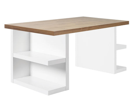 Multi 63 Table Top W/ Storage Legs Walnut / Pure White Office Desk