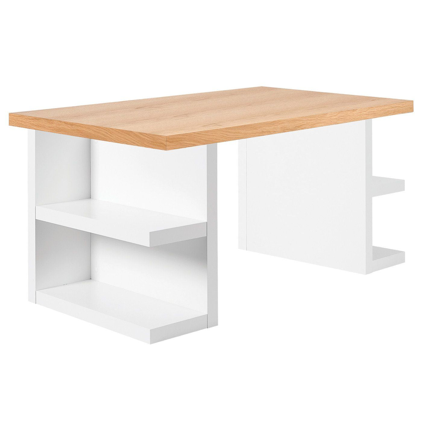 Buy Temahome 9500 620232 Multi 71 Table Top W Storage Legs Oak Top Pure White Legs At Contemporary Furniture Warehouse