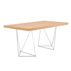 Multi 63 Table Top W/ Trestles Oak / Chrome Office Desk