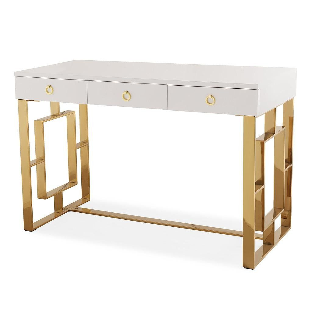 White And Gold Desk Space Saving Desks Home Office