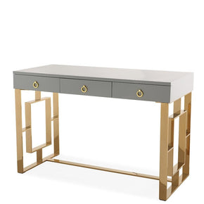 Audrey Grey Lacquer Desk Gold Office
