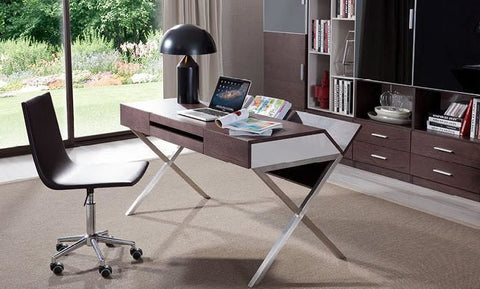 Modrest Orwell Contemporary Brown Oak & Grey Office Desk