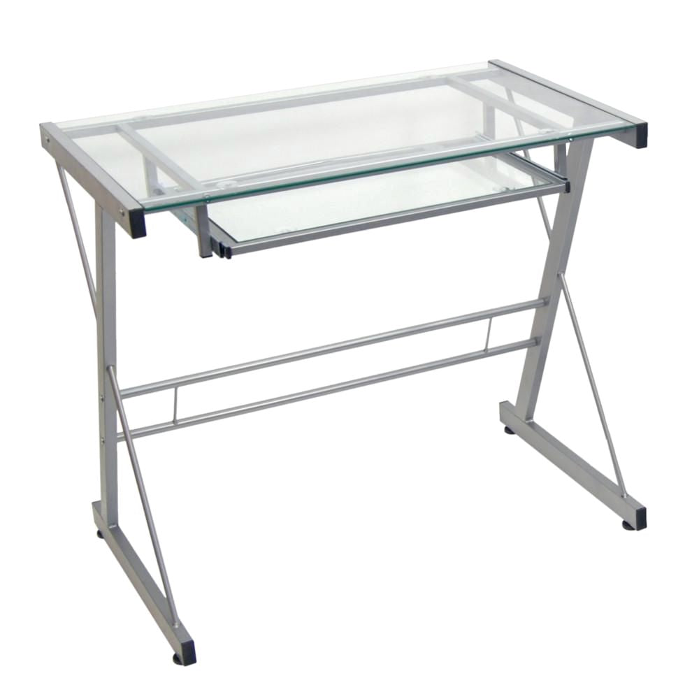 Office Desks - Walker Edison D31S29 Silver Computer Desk | 893861001947 | Only $99.99. Buy today at http://www.contemporaryfurniturewarehouse.com