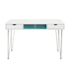 Accent Computer Desk - Aqua Blue / White