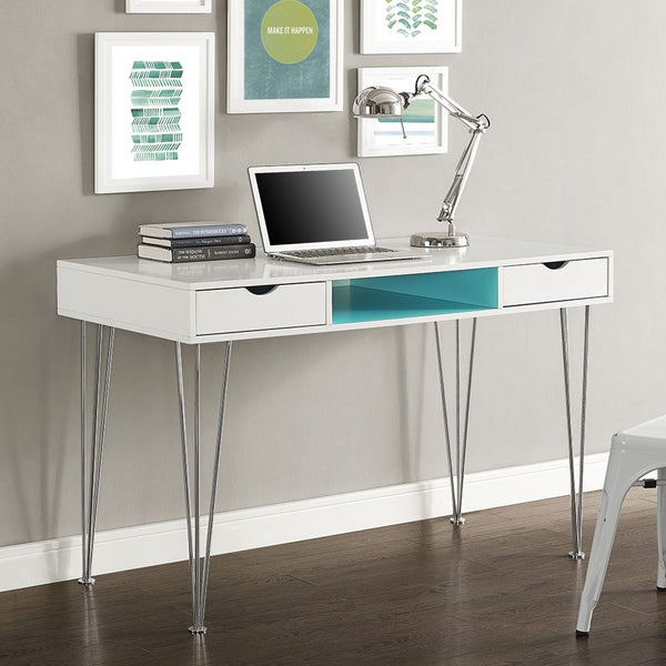 Office Desks - Walker Edison D48CA1AQ Accent Computer Desk - Aqua Blue / White | 814055023897 | Only $310.80. Buy today at http://www.contemporaryfurniturewarehouse.com