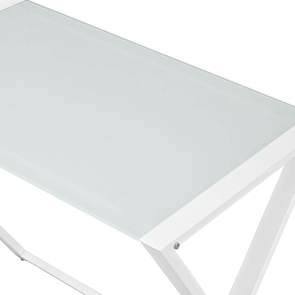 X-Frame Glass & Metal L-Shaped Computer Desk - White/white Office