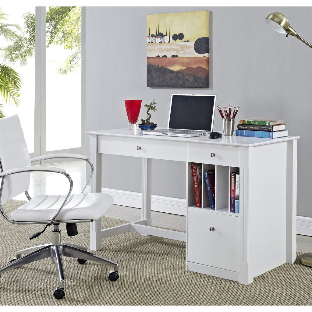 Deluxe White Wood Computer Desk Office
