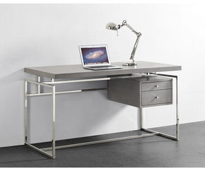 Harlow Desk Top & Drawer In Gray Oak Veneer With Stainless Steel Base Office