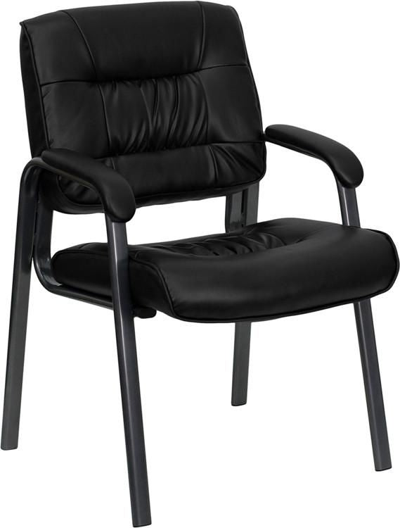 Black Leather Executive Side Chair With Titanium Frame Finish Office