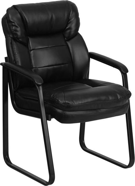 Black Leather Executive Side Chair With Sled Base Office