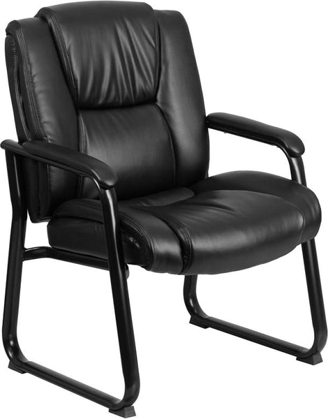 Series 500 Lb. Capacity Big & Tall Black Leather Executive Side Chair With Sled Base Office