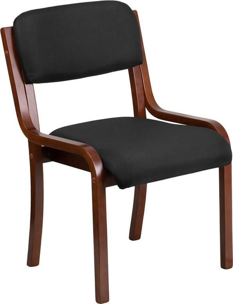 Contemporary Black Fabric Wood Side Chair With Walnut Frame Black, Office