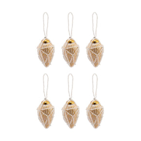 Beaded Ornaments Set - Conical Gold Ornament