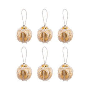 Beaded Ornaments Set - Optic Round Gold Ornament