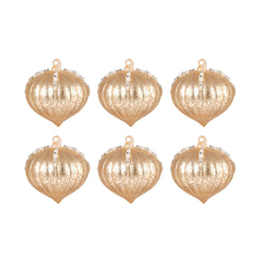 Pointed Ball Set Of 6 Ornaments In Gold Ornament
