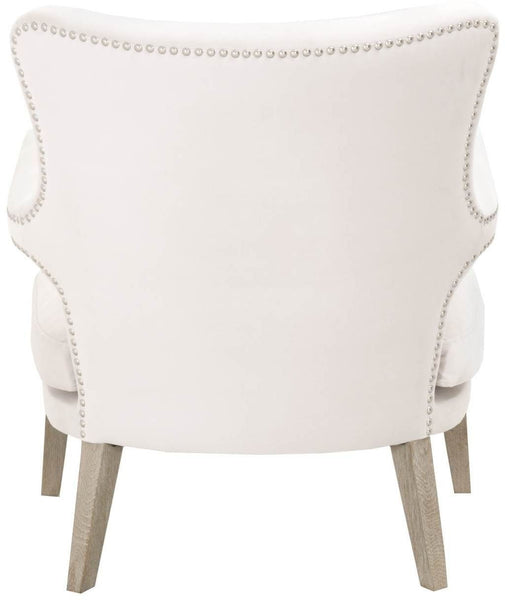 Calvin Club Chair Cream Velvet, Natural Gray | Small Brushed Silver Nail Heads
