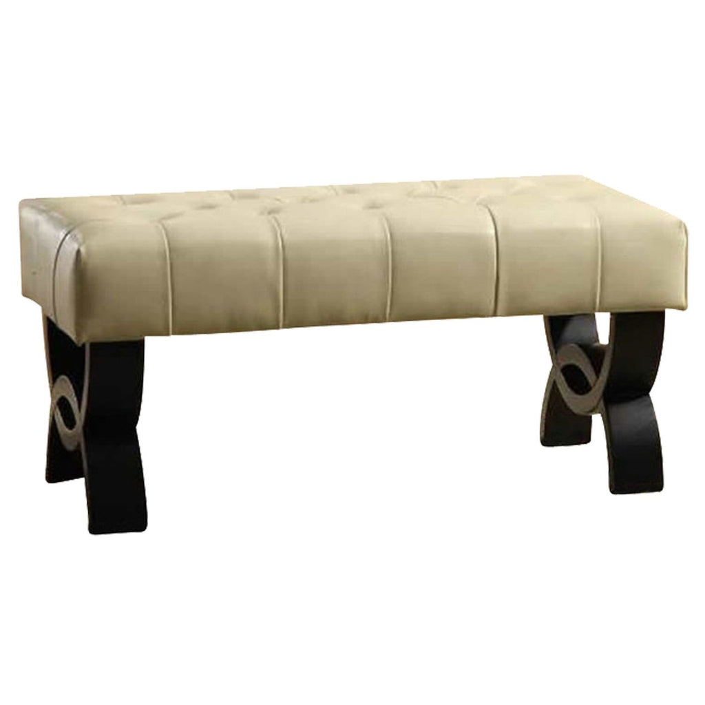 "Ottomans - Armen Living LC5012BEBCCR36 Central Park 36"" Tufted Cream Bonded Leather Ottoman. 