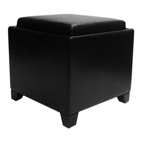 Ottomans - Armen Living LC530OTLEBL Rainbow Contemporary Storage Ottoman With Tray in Black Bonded Leather | 700220754171 | Only $109.00. Buy today at http://www.contemporaryfurniturewarehouse.com