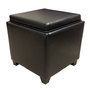 Ottomans - Armen Living LC530OTLEBR Rainbow Contemporary Storage Ottoman With Tray in Brown Bonded Leather | 700220754188 | Only $109.00. Buy today at http://www.contemporaryfurniturewarehouse.com