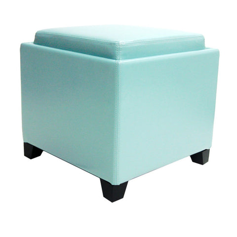Armen Living Rainbow Contemporary Storage Ottoman With Tray in Sky Blue Bonded Leather LC530OTLESB | 700220754218| $109.00. Ottomans - . Buy today at http://www.contemporaryfurniturewarehouse.com