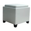 Ottomans - Armen Living LC530OTLEWH Rainbow Contemporary Storage Ottoman With Tray in White Bonded Leather | 700220754225 | Only $109.00. Buy today at http://www.contemporaryfurniturewarehouse.com