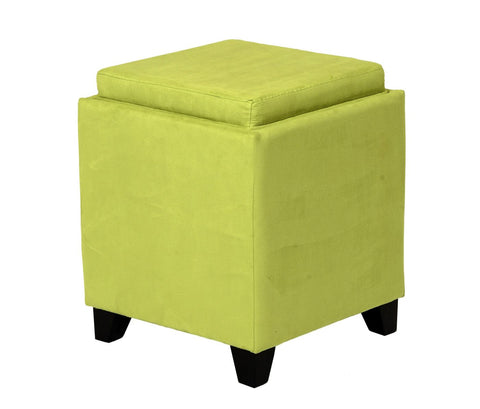 Rainbow Microfiber Storage Ottoman In Green