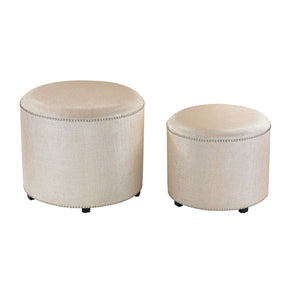Set Of 2 Cream Metallic Linen Ottoman
