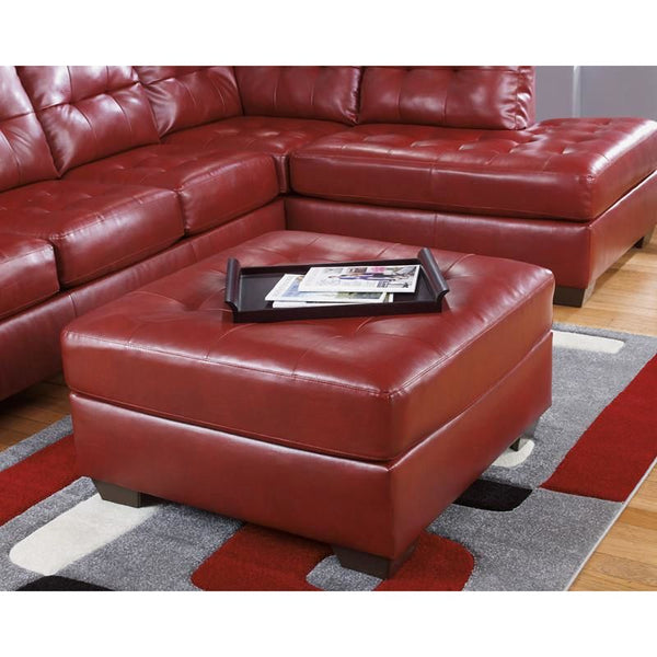 Signature Design By Ashley Alliston Oversized Ottoman In Chocolate Durablend Red