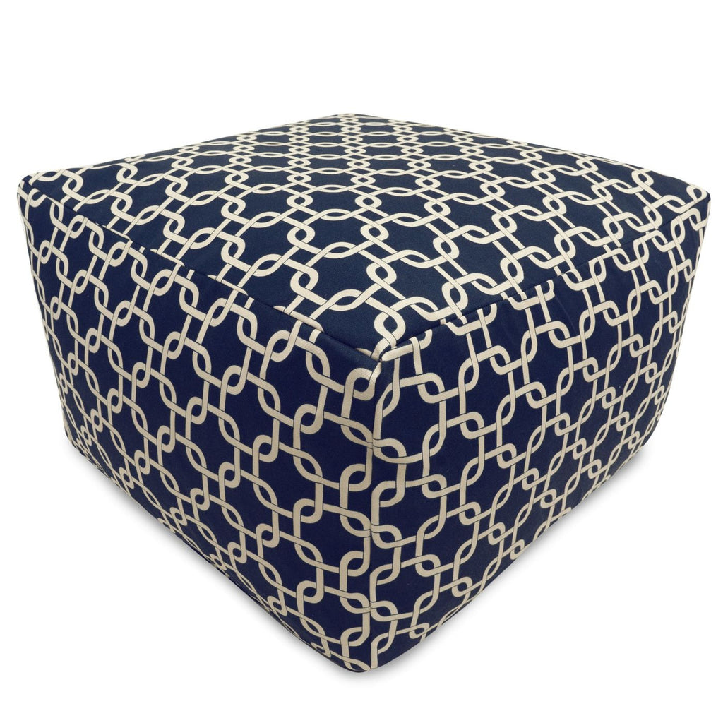Navy Blue Links Large Ottoman