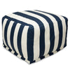 Navy Blue Vertical Stripe Large Ottoman