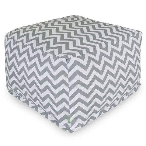 Gray Chevron Large Ottoman