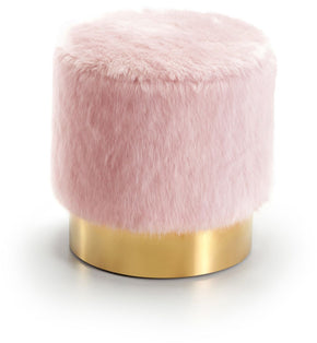 Meridian Estelle Pink Fur Ottoman/Stool Gold Stainless Steel Base 124Pink | 647899947438| $199.80. Ottomans - . Buy today at http://www.contemporaryfurniturewarehouse.com
