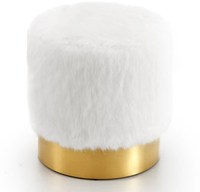 Estelle White Fur Ottoman/stool Ottoman