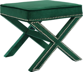Meridian Nixon Green Velvet Ottoman/Bench 126Green | 647899948046| $114.80. Ottomans - . Buy today at http://www.contemporaryfurniturewarehouse.com