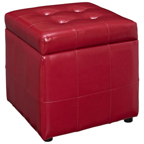 Volt Storage Upholstered Faux Leather Ottoman Red