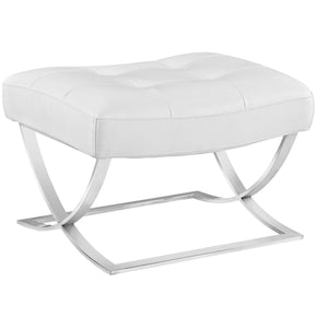 Slope Upholstered Faux Leather Ottoman White