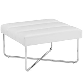 Reach Upholstered Faux Leather Ottoman White
