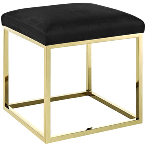 Ottomans - Modway EEI-2849-GLD-BLK Anticipate Velvet Upholstery Gold Stainless Steel Ottoman | 889654111221 | Only $173.55. Buy today at http://www.contemporaryfurniturewarehouse.com