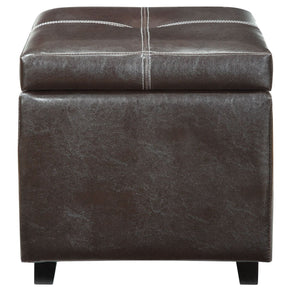 Treasure Upholstered Faux Leather Ottoman Espresso