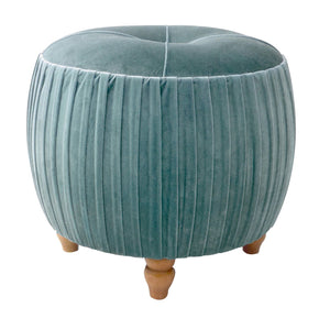 Helena Velvet Small Round Ottoman Natural Wood Legs Emerald