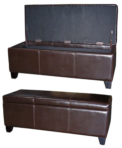 Luisa Bonded Leather Storage Ottoman 48 Brown
