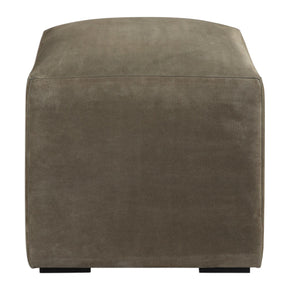 Graves Gray Leather Ottoman