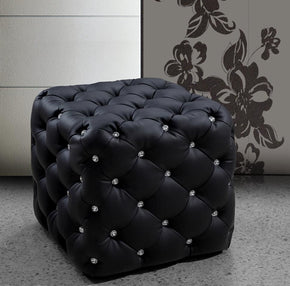 Divani Casa Nina Black Eco-Leather Pouf With Crystals Ottoman