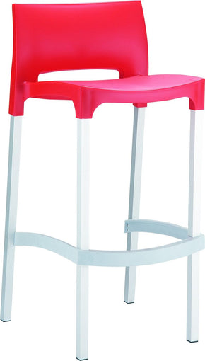 Gio Outdoor Barstool Red (Set Of 2) Bar Chair