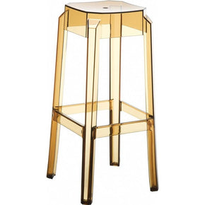 Fox Polycarbonate Bar Stool Transparent Amber (Set Of 2) Outdoor Chair