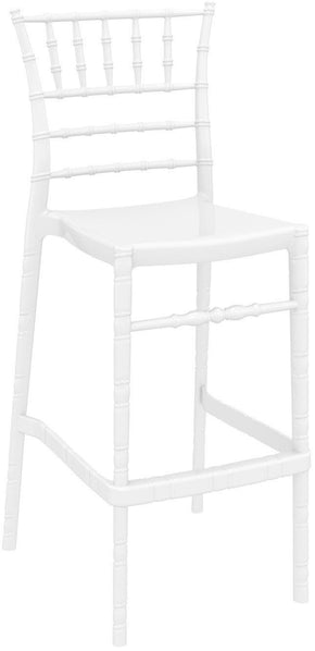 Chiavari Polycarbonate Barstool Glossy White (Set Of 2) Outdoor Bar Chair