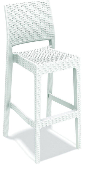 Jamaica Resin Wickerlook Barstool White (Set Of 2) Outdoor Bar Chair