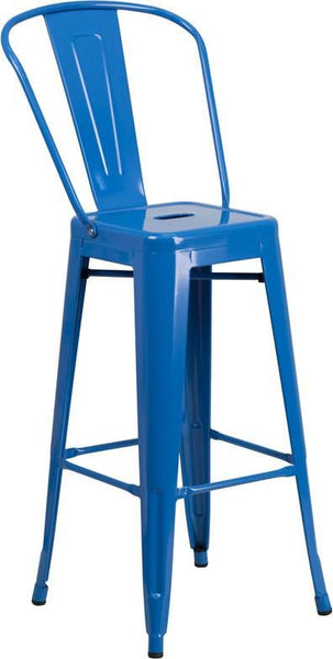 30'' High Bright Metal Indoor-Outdoor Barstool With Back (Multiple Colors) Blue Outdoor Bar Chair
